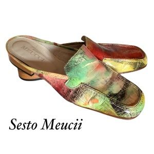 SESTO MEUCII WATERCOLOR LEATHER SHOES LOAFERS 7 N